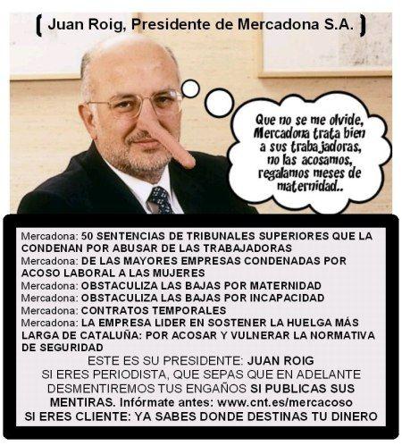 Juan Roig, Presidente Mercadona (el éxito de esta empresa está basada en buena medida en sus mentiras del 'buen trato al trabajador/a') - No compres en Mercadona (en el pequeño comercio mejor)