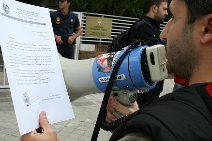 Concentración CNT Madrid. Comunicado Liberación presos serbios detenidos.