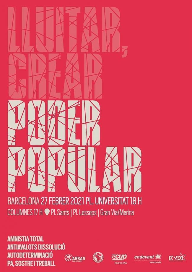 [Barcelona] 27 febrer: Lluitar, crear, poder popular